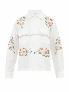 Bode - Pagoda Embroidered Cotton Blend Shirt - Womens - White Multi