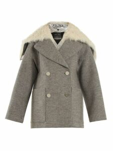 Proenza Schouler - Faux Fur Trimmed Detachable Collar Wool Coat - Womens - Light Grey