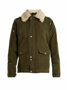 Saint Laurent - Shearling Collar Cotton Blend Gabardine Parka - Womens - Khaki