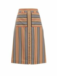 Burberry - Arisa Box Pleated A Line Skirt - Womens - Beige Multi