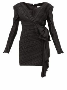 Givenchy - Bow Embellished Plissé Satin Mini Dress - Womens - Black