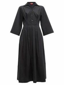 Staud - Pleated Skirt Cotton Blend Poplin Shirtdress - Womens - Black