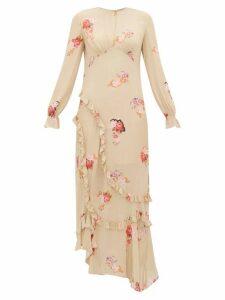 Preen Line - Gabriella Floral Print Crepe De Chine Maxi Dress - Womens - Beige Multi