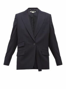Stella Mccartney - Single Breasted Wool Twill Blazer - Womens - Navy