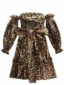 Dolce & Gabbana - Leopard Print Off The Shoulder Silk Mini Dress - Womens - Leopard