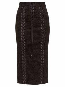 Dolce & Gabbana - Lace Up Floral Jacquard Pencil Skirt - Womens - Black