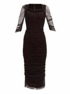 Dolce & Gabbana - Ruched Tulle Midi Dress - Womens - Black