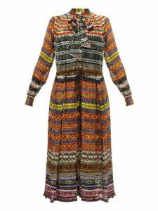 Preen By Thornton Bregazzi - Caroline Fair Isle Print Crepe De Chine Midi Dress - Womens - Multi