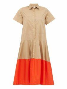 Lee Mathews - Elsie Contrast Hem Cotton Poplin Shirtdress - Womens - Beige Multi