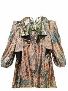 Halpern - Sequinned Draped Bustier Dress - Womens - Multi