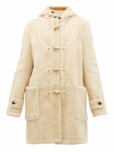 Saint Laurent - Toggle Front Hooded Shearling Coat - Womens - Ivory Multi