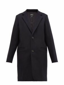 A.p.c. - Carver Single-breasted Felted Wool-blend Overcoat - Womens - Navy