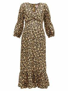 Shrimps - Rosemary Leopard Print Silk Dress - Womens - Leopard