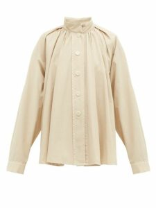 Lemaire - High Neck Cotton Poplin Shirt - Womens - Cream