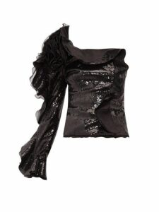 Dundas - One Sleeve Ruffle Trimmed Sequinned Top - Womens - Black