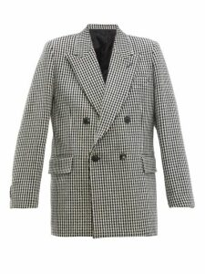 Ami - Houndstooth Double Breasted Wool Blazer - Womens - Black White