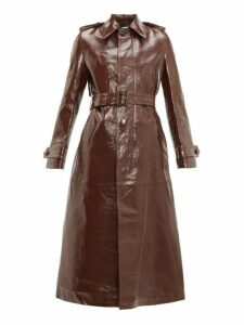 Ami - Single Breasted Crinkled Leather Trench Coat - Womens - Brown