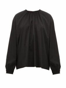 Rochas - Tie Neck Cotton Blend Top - Womens - Black