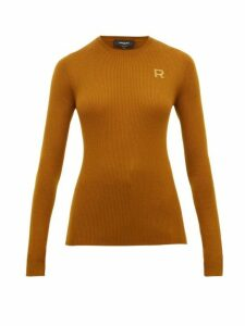 Rochas - Logo Embroidered Wool Sweater - Womens - Brown