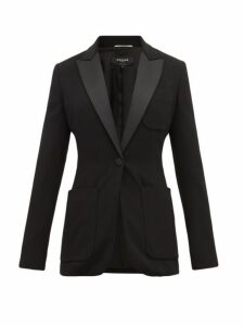 Rochas - Satin Lapel Single Breasted Blazer - Womens - Black