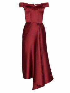 Alexander Mcqueen - Off The Shoulder Silk Satin Midi Dress - Womens - Burgundy