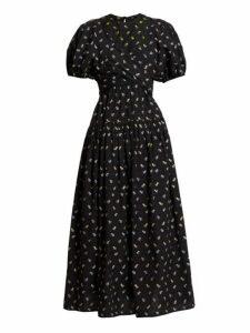 Cecilie Bahnsen - Anna Wrap Bodice Floral Jacquard Cotton Midi Dress - Womens - Black Blue