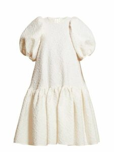 Cecilie Bahnsen - Alexa Puffed Sleeve Cloqué Dress - Womens - White