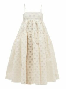 Cecilie Bahnsen - Sofie Floral-jacquard Devoré Midi Dress - Womens - Ivory
