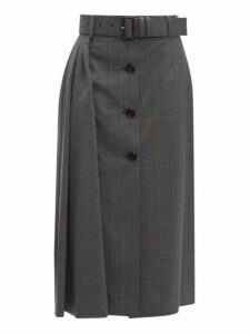 Prada - Prince Of Wales Checked Wool Blend Midi Skirt - Womens - Grey