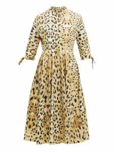 Prada - Band Collar Watercolour Print Cotton Midi Dress - Womens - Beige Multi