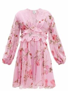 Giambattista Valli - Peony Print Lace Trim Silk Georgette Dress - Womens - Pink Print