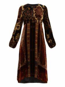 Etro - Nottinghamshire Paisley Print Velvet Dress - Womens - Black Multi