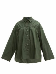 White Story - Adam Elasticated Cotton Poplin Shirt - Womens - Khaki