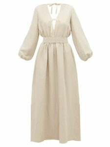 White Story - Greta Linen Maxi Dress - Womens - Beige
