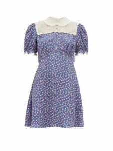 Miu Miu - Floral Print Silk Charmeuse Mini Dress - Womens - Blue Multi