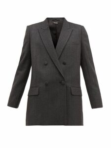 Miu Miu - Double Breasted Wool Tweed Blazer - Womens - Dark Grey