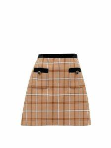 Miu Miu - High Rise Velvet & Checked Twill Mini Skirt - Womens - Brown Multi