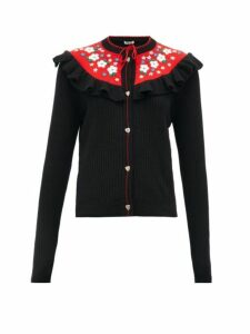 Miu Miu - Floral Embroidered Wool Cardigan - Womens - Black Multi