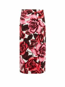Prada - Rose Print Cotton Canvas Midi Skirt - Womens - Pink Print