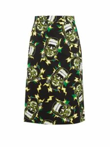 Prada - Frankenstein's Monster Print Cotton Pencil Skirt - Womens - Black Green