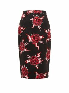Prada - Electric Roses-print Cotton Pencil Skirt - Womens - Black Multi