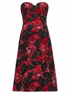 Prada - Sweetheart Neckline Rose Print Cady Dress - Womens - Red Multi