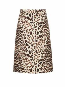 Prada - Leopard Print Wool Twill Skirt - Womens - Leopard