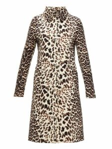 Prada - Leopard Print Single Breasted Wool Coat - Womens - Leopard