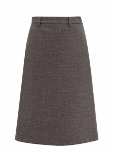Prada - A Line Wool Blend Tweed Skirt - Womens - Grey
