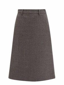 Prada - A Line Wool Blend Tweed Skirt - Womens - Grey