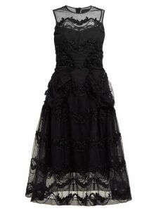 Simone Rocha - Tinsel Embroidered Tulle Midi Dress - Womens - Black