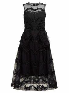 Simone Rocha - Tinsel Embroidered Tulle Midi Dress - Womens - Black