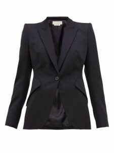 Alexander Mcqueen - Single Breasted Wool Blazer - Womens - Navy