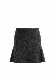 Redvalentino - Mid Rise Herringbone Tweed Mini Skirt - Womens - Grey